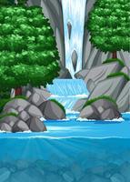 Waterval in vijverscène