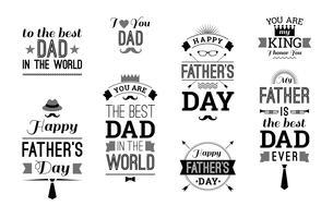 De gelukkige Inzameling van het Vaderdagontwerp in Retro Stijl. vector