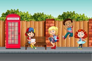 Internationale kinderen in de stad vector
