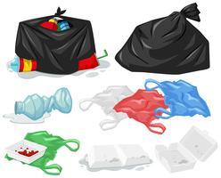 Verschillende soorten vuilnis en vuilniszakken vector