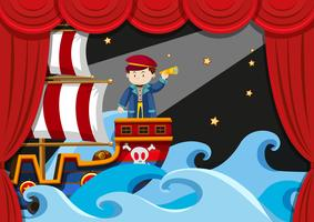 Jongen piraat spelen op het podium