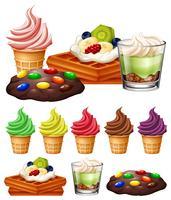 Verschillende soorten desserts vector