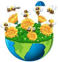 Bijen vliegen in de tuin op aarde