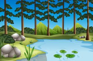 Bosscène met bomen en rivier vector