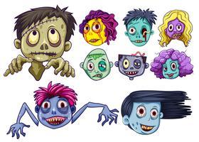 Set van zombie hoofden vector