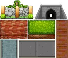 Verschillend ontwerp van muur en voetpaden