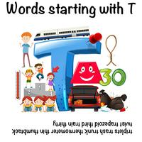 Educatieve poster voor woorden die beginnen met T