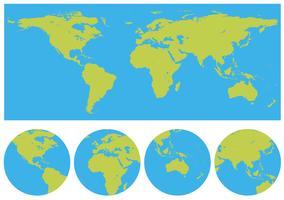 Wereldkaarten in vele ontwerpen vector