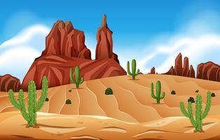 Woestijnscène met cactus vector