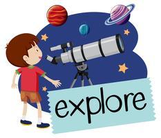 Een gelukkige jongen met telescoop vector