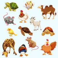 Stickerontwerp met wilde dieren vector