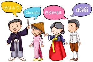 Vier mensen begroeten in verschillende talen vector