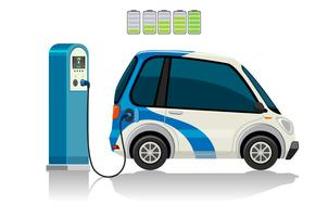 Een elektrische auto bij het laadstation vector