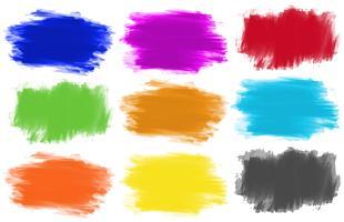 Penseelstreken in negen kleuren