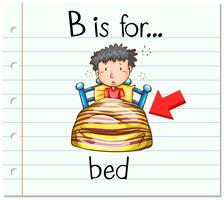 Flashcard letter B is voor bed vector