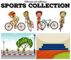 Fietsers met fiets- en racescènes vector