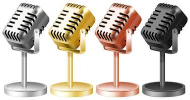 Microfoon in vier kleuren vector