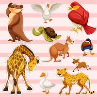 Sticker met wilde dieren vector