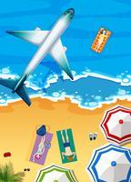 Vliegtuig vliegt boven de oceaan vector
