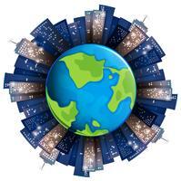 Hoge gebouwen rond de aarde vector
