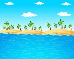 Achtergrondscène met blauwe oceaan en kokospalmen vector