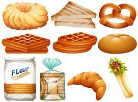 Verschillende soorten brood en desserts vector