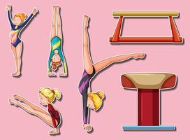 Stickerontwerp voor gymnastische spelers en bars vector