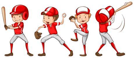 Een schets van de honkbalspelers in rood uniform