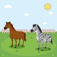Zebra en paard in de natuur vector