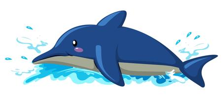Drijvende dolfijn op witte achtergrond