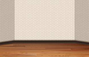 Bakstenen muur en houten vloer vector