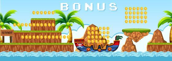 Piraten spel met eilandscène vector