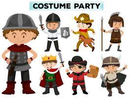 Kostuumfeest met jongens in verschillende kostuums vector