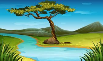 Scène met rivier door het veld vector