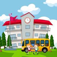 Kinderen komen naar school met de bus vector