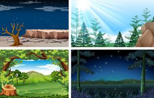 Vier verschillende natuur dag en nacht scène