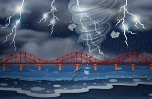 Een cycloon en onweer vector