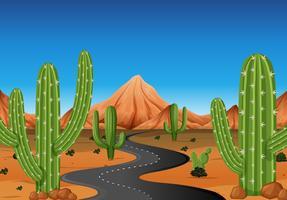 Achtergrondscène met weg in het westelijke land vector