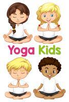 Set van yoga kinderen vector