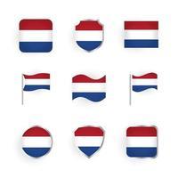 nederlandse vlag iconen set vector