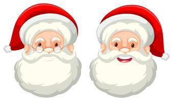 De gelaatsuitdrukking van de Kerstman op witte achtergrond