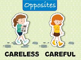 Achteloze en voorzichtige tegenovergestelde woorden
