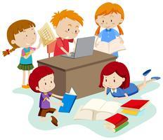 Studentenstudie in klaslokaal vector
