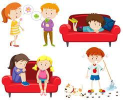 Set van emotionele kinderen vector