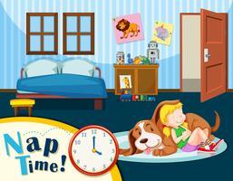 Een meisje met een dutje vector