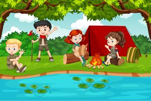 Jongen en meisjesverkenner die in aard kamperen vector