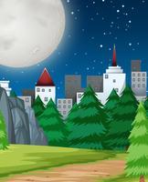Een vlak nachtlandschap