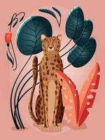 portret van een cheetah op roze achtergrond omringd met planten vector