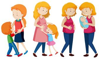 Set van moeder en kinderen