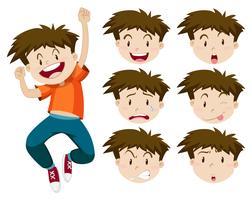 Jongen met gezichtsuitdrukkingen vector